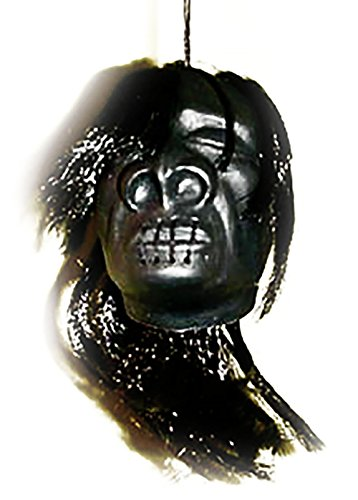 The View Halloween (Cool & Custom {String Hang} Single Unit of Rear View Mirror Hanging Ornament Decoration Made of Plastic w/ Creepy Scary Halloween Island Shrunken Head Design [VW Black & Gray Colored])