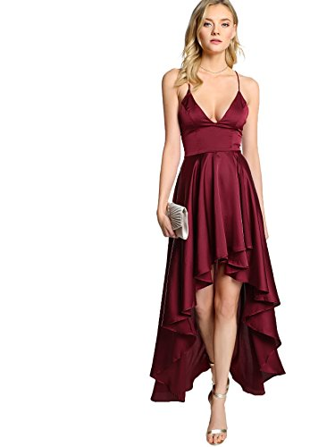 (Floerns Women's Plunging Spaghetti Strap Backless High Low Maxi Cocktail Party Dress Burgundy M)