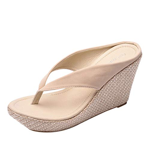 SMALLE_Shoes Wedge Flip Flops for Women,SMALLE◕‿◕ Women Beach Sandals Platform Wedges Sandals High Heels Wedges Slippers Beige