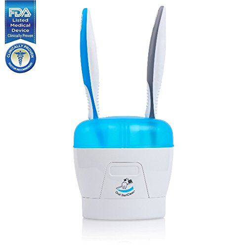 Portable DUO UV Toothbrush Holder and Sanitizer - Clinically Proven FDA Listed Medical Device - Fits 2 Toothbrushes or Battery Operated Toothbrushes - Doctor Recommended by Oral ()