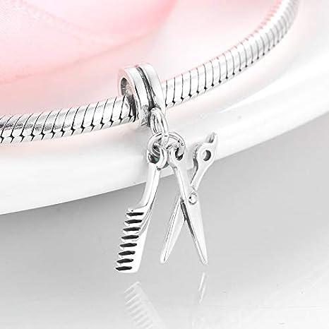 LFDHG Modelado de Moda Plata de Ley 925 Tijeras y Peine Colgantes de dijes Fit Collar Original Pulsera de Perlas Joyas