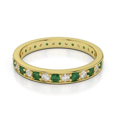 Or jaune 18carats 0,64CT G-H/VS sertie de diamants ronds découpé Émeraude et bague éternité Agdr-1079