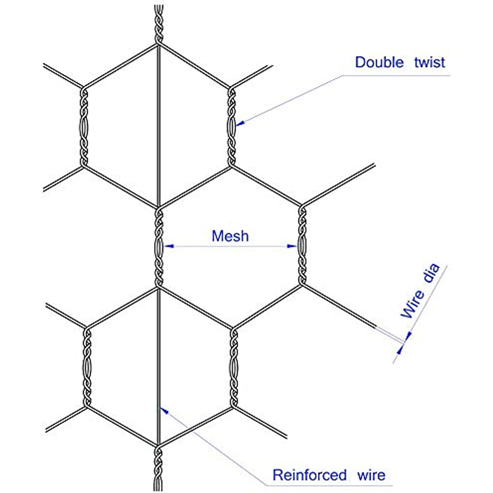 mtb pvc hexagonal poultry netting chicken wire 12 u0026quot  x50 u0026 39  1 u0026quot  mesh 20ga black  u0026