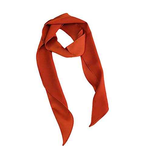 (Shineweb Fashion Women Pure Color Silky Square Scarf Headband Neckerchief Wrap Head Decor Orange)