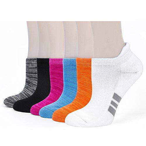 Womens Athletic Running Socks Low Cut With Seamless Toe Moisture Wicking Single Tab Cushion Padding for Women-6PACK