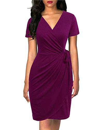 Lyrur Women's Classic Cocktail Dress Purple Party Short Sleeve Deep V Neck Draped Tie Belt Knee Length Faux Wrap Dress(M, - Skirt Wrap Blend