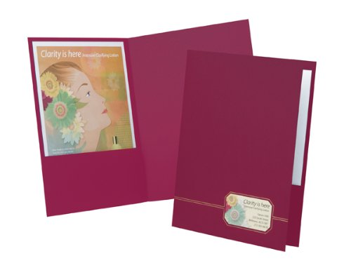 Oxford Monogram Executive Twin Pocket Folder, Burgundy/Gold Letter Size, 4 per Pack (Executive Pocket)