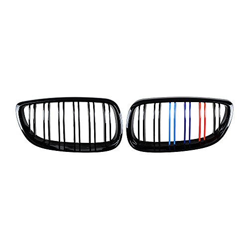 2pcs Glossy Black M Color Kidney Grille for 2007-2010 BMW E92 2D Coupe E93 Convertible Pre-Facelift 2008-2013 3-Series M3(E92/E93)