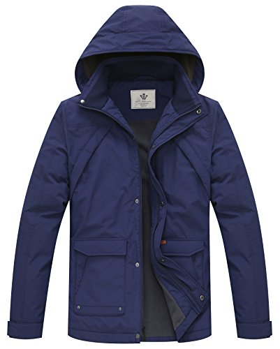 WenVen Men's Military Winter Jacket(Blue,Small) by WenVen