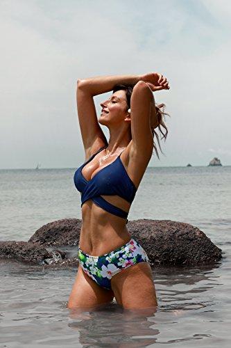 EasyMy Mujeres Padded Cross Conjunto de Bikini Traje de Baño Push-up Bañador Navy