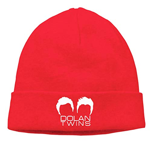 Pautabely Unisex Dolan Twins Beanie Funny Warm Knit Cap for Mens Women Boys & Girls One Size Red -
