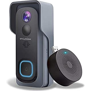 Laview WiFi Video Camera Doorbell Wireless ,Rechargeable Battery Simple Self-Installation, 32GB, 1080P Video AI Human Detection Night Vision, 2-Way Audio, IP65 Waterproof, USA Cloud Server