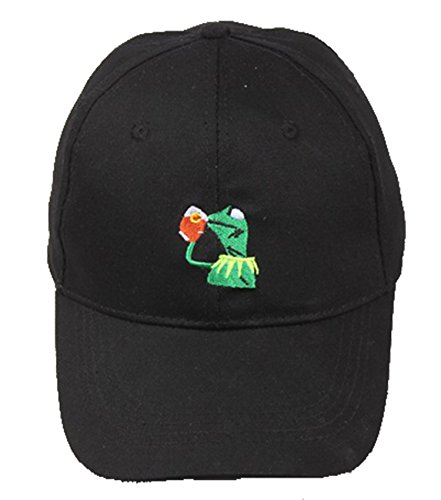 Frog Baseball Hat - LiwnzhenSH Classic Kermit The Frog Sipping Tea Adjustable Strapback Hat Black Baseball Cap for Adult