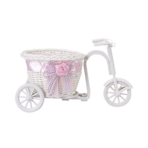 Handmade Tricycle/bike Flower Basket for Flower Vase and Storage Decoration Gift (Pink)