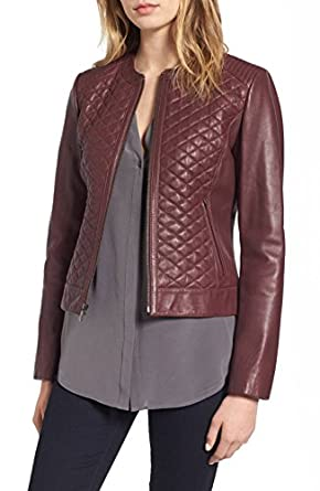 Cole Haan Quilted Leather Moto Jacket Size M At Amazon Womens