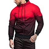 Mens Fashion Cotton Lightweight Slim Fit Pocket Zip-up Gradient Hoodie Jacket Sweatshirt
