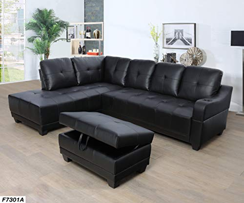 (Lifestyle Furniture Left Facing 3PC Sectional Sofa Set,Faux Leather,Black(LS7301A))