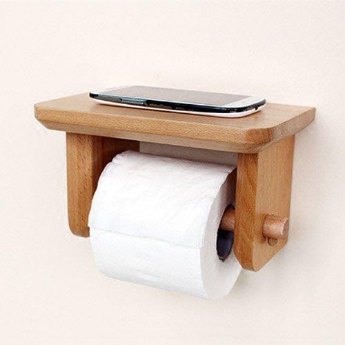 - Shelfhx Solid Wood Roll Holder Waterproof Rustproof Toilet Paper Holder Desktop Paper Towel Rack Wall-Mounted Racks Mobile Phone Holder Creative Toilet Paper Box