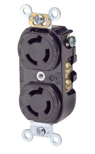 Leviton 4550 15 Amp, 250 Volt, Duplex Locking Receptacle, Industrial Grade, Grounding, Black
