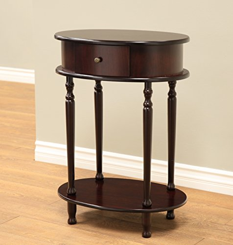 Pedestal Oval (Frenchi Home Furnishing Finish End Table/Side Table, Espresso)