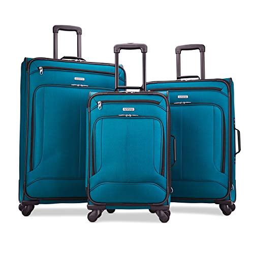 American Tourister Pop Max 3-Piece Softside (sp21/25/29) Luggage Set with Spinner Wheels, Teal