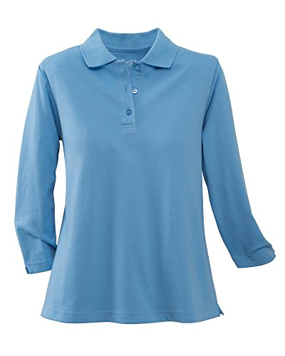 UltraSofts ¾ Sleeve Knit Polo, French Blue, -