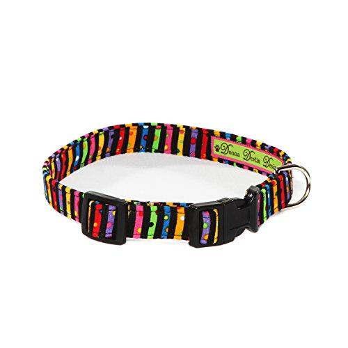 "Donna Devlin Designs- Tutti Frutti Collar S Festive is an understatement! Super colorful stripes are adorned with vibrant dots making Tutti Frutti a sure show stopper. (adjusts 10""-15"" x 5/8""wide)"