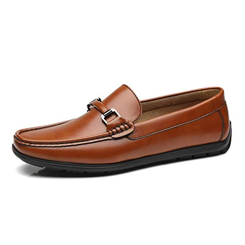 Faranzi Men's Driving Moccasins Buckle Slip-On Penny Loafers Classic Comfortable Boat Shoes Casual Driving Shoes for Men