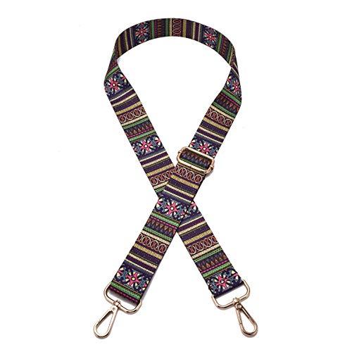 Wide Shoulder Strap Adjustable Replacement Belt Guitar Style Crossbody Bag Handbag Strap Multicolor Canvas Straps(Wide:1.4in,Long:49.2in) (Stripe)