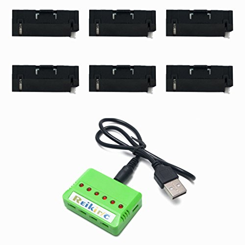 Reikirc 6pcs 3.7V 400mAh Battery and 1to6 Charger for JJRC H37 Mini GoolRC T37 Goolsky H37 Mini Rc Quadcopter Drone Spare Parts by Reikirc