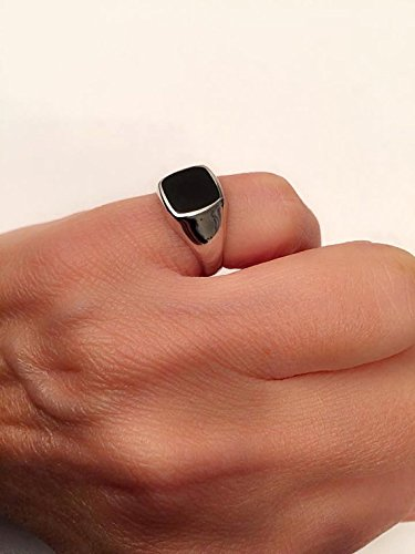 Onyx ring, Silver Signet Black square Ring, Size 8 us -