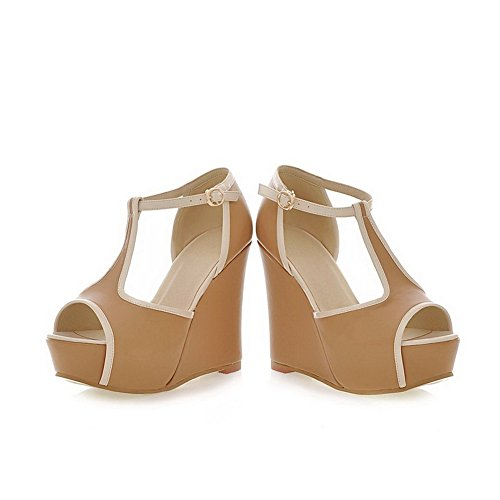 VogueZone009 Womens Open Peep Toe High Heel Wedge Platform PU Soft Material Solid Sandals with Buckle apricot tNg4ELK9