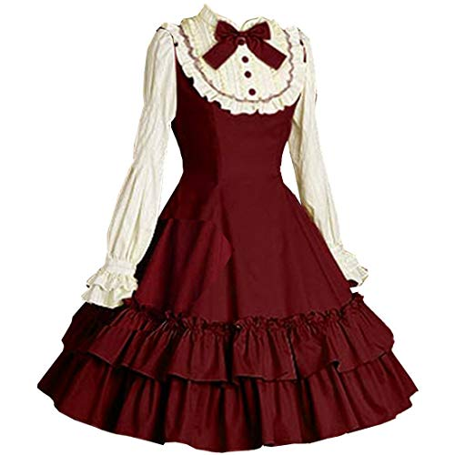 (I-Youth Women's Long Sleeves Multi Layers Classic Sweet Lolita Dress (S, Wine red and)