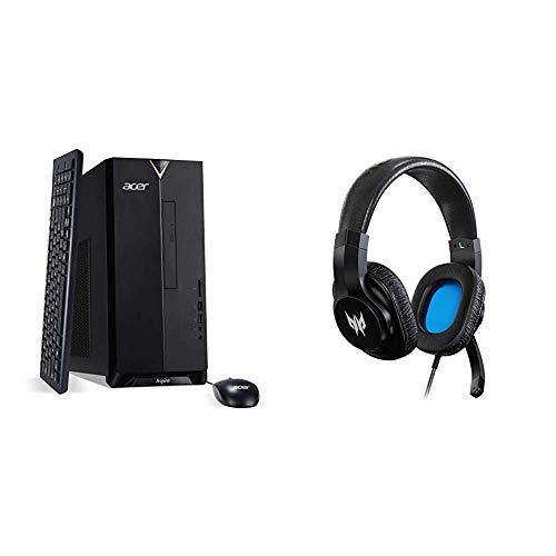 Acer Aspire TC-895-UA92 Desktop, 10th Gen Intel Core i5-10400 6-Core Processor, 12GB 2666MHz DDR4, 512GB NVMe M.2 SSD, 8X DVD, 802.11ax Wi-Fi 6, USB 3.2 Type C, Windows 10 Home with Gaming Headset