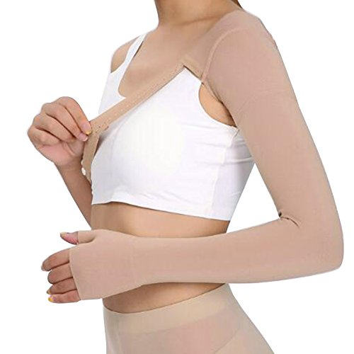 Zinnor Post Mastectomy Compression Sleeve,30~40mmHg Arm Shoulder Strap with Glove, Anti Swelling Support Edema Swelling Lymphedema Compression Sleeve (Left - XL) ()