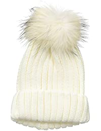 Women's Knitted Hat With Raccoon Pom