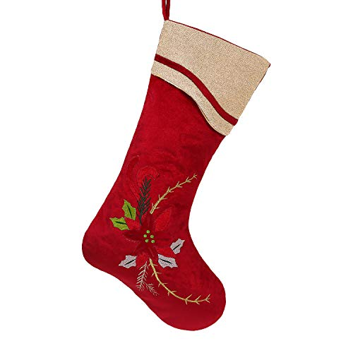 Valery Madelyn Luxury Red and Gold Christmas Stockings with Christmas Flower and Embroidery Accent, Themed with Tree Skirt (Not Included)