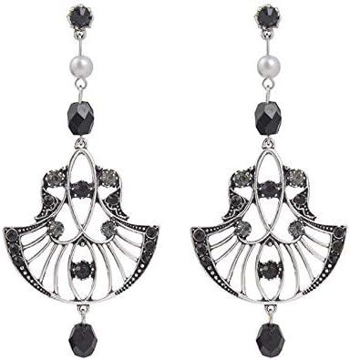 QYMX Pendiente Mujer, Pendientes Colgantes de Metal con Flor de Plata Antigua Vintage Pendiente de aleación de Cristal Punky para joyería de Mujer