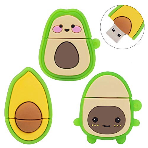 LEIZHAN Cute USB Flash Drive 16GB, 3 Pack Fruit Design Avocado Silicone USB 2.0 Thumb Drive Computer Memory Stick Pen Drive Flash Disk Jump Drive Gift Set