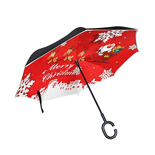 (Reverse Umbrella Christmas Deer Pull Car Gift Double Layer Anti-UV Protection)