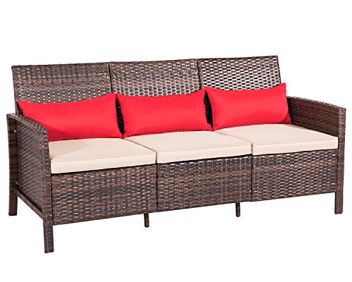 Back 3 Three Seat Sofa - Suncrown Outdoor Furniture Patio Sofa Couch (Seats 3) Garden, Backyard, Porch or Pool | All-Weather Wicker with Thick Cushions | Easy to Assemble