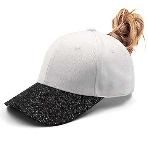 (Lvaiz Womens Glitter Ponytail Hat Plain Baseball Cap Messy High Buns Mesh Trucker Ponycaps for Girls)