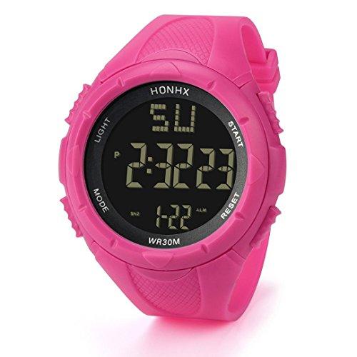 Gotd Waterproof LED Sport Digital Date Wrist Watch for Women Men Casual Quartz Band Silicone Rubber Strap Wholesale Luxury Fashion Gift Birthday (Pink)