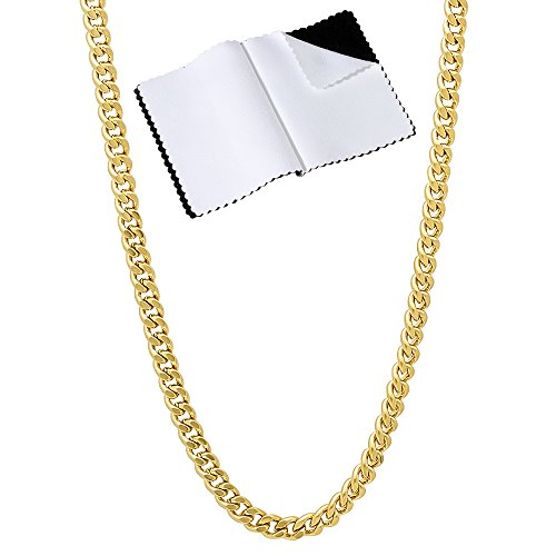 The Bling Factory 3mm Gold Plated Flat Cuban Link Curb Chain Necklace, 18