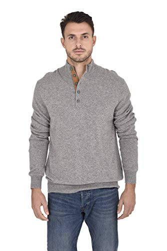 Cashmeren Men's 100% Pure Cashmere Classic Knit Soft Button Mock-Neck Polo Collar Pullover Sweater (Heather Grey, Large)