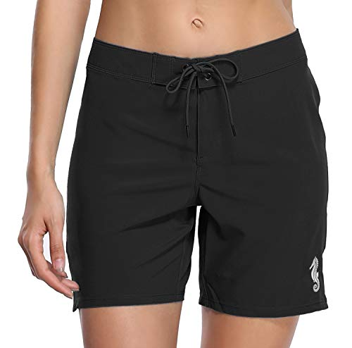 - ATTRACO Stretch Board Shorts Women's Swimwear Black High Waisted Swim Bottoms L