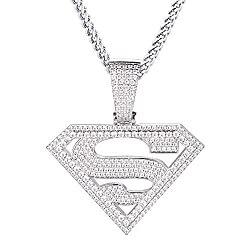 Gold Plated/White Gold Plated Superman Pendant w/Chain