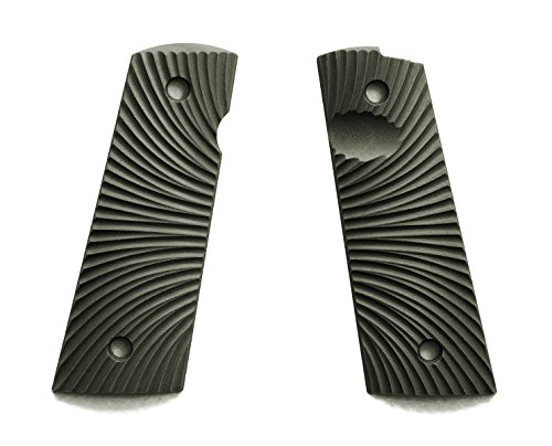 E Gun Grips H1M-J6M-2 Beautiful G10 Tactical Pistol Grips with Magwell Cut for Full Size 1911 Handguns, Olive
