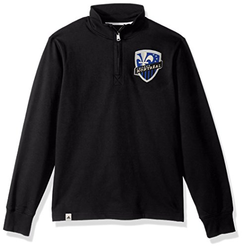fan products of MLS Impact Montreal Adult Men MLS Crest Lifestyle 1/4 Zip Pullover, Large, Black