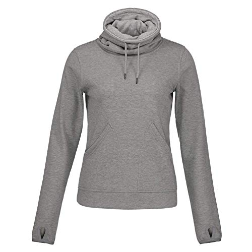 Helzkor Women's Long Sleeve Fleece Lined Pullover Cowl Neck Casual Sweatshirt with Thumbholes and Pockets Gray -